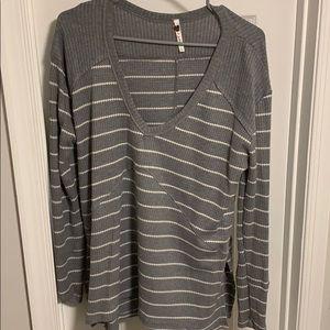Grey & White Long Sleeve Top